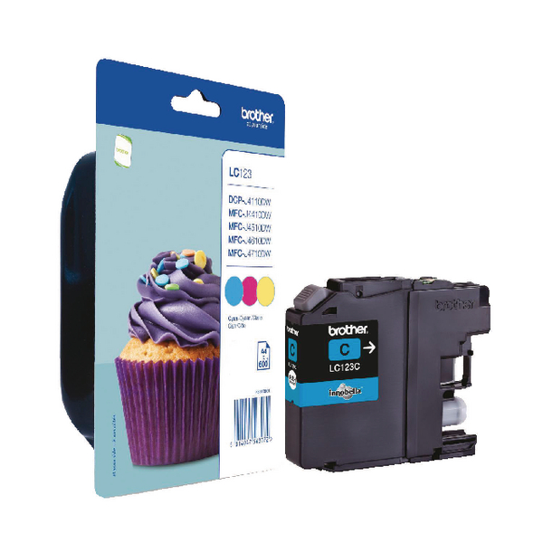 Brother LC-123 Cyan/Magenta/Yellow Inkjet Cartridges (Pack of 3) LC123RBWBP
