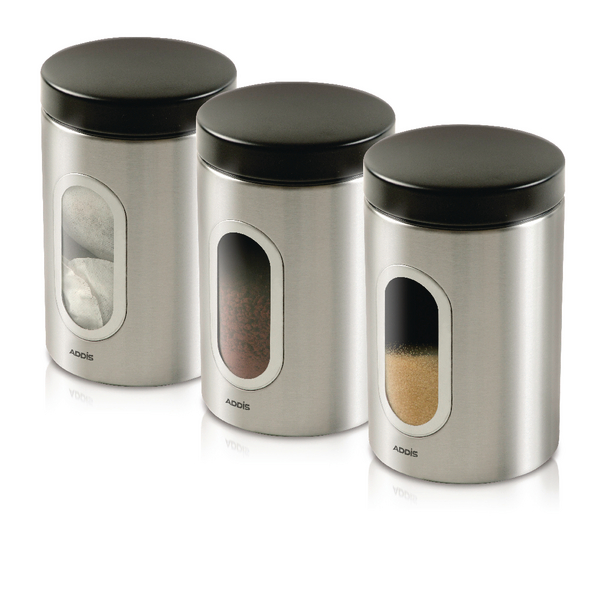 Silver Tea Coffee Sugar Canisters >> Kitchen Canisters Set of 3 Silver Stainless Steel KZOCS - One Stop Stationery