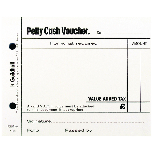 guildhall petty cash pad 100 leaves white 103 one stop stationery