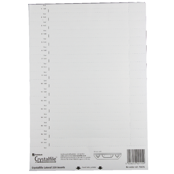 Rexel CrystalFile 330 Lateral File Inserts for Lateral File Tabs White (Pack of 25) 70676