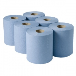 2Work Centrefeed Roll 3-Ply Blue 135m (Pack of 6)