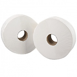 2Work White 76mm Core 2-Ply Jumbo Roll 92mm x 410m (Pack of 6) 2W70203