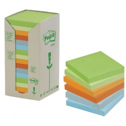 Post-it Note Recycled Tower Pack 76 x 76mm Pastel Rainbow (Pack of 16) 654-1RPT