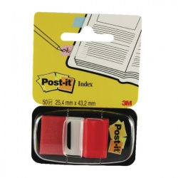 Post-it Red Index Tabs 25mm (12 Packs of 50) 680-1