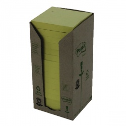 Post-it Note Recycled Tower Pack 76 x 76mm Yellow (Pack of 16) 654-1T