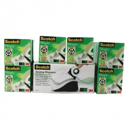 Scotch Magic Tape 19mm x33m (Pack of 16 with Free Black/Grey Dispenser) 8-1933R16060