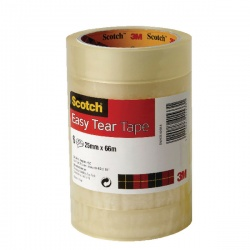 Scotch Clear Easy Tear Tape 24mm x 66m (Pack of 6) ET2566T6