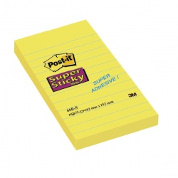 Post-it Notes Super Sticky 152 x 102mm Ruled Feint Yellow (Pack of 6) 660S