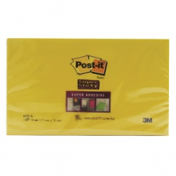 Super Sticky Yellow Post-it Notes 76 x 127mm  (Pack of 6)