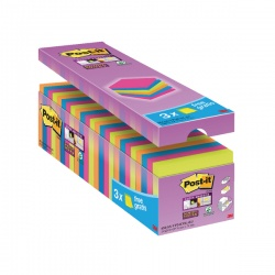 Post-it Notes Super-Sticky 76 x 76mm Assorted Value Pack (Pack of 24) 654-SS-VP24COL-EU