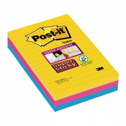 Post-it Notes Super Sticky XXL Lined Rio Colours (Pack of 3) 4690-SS3RIO