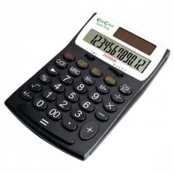 Aurora Black/White 12-digit Desk Calculator EC505