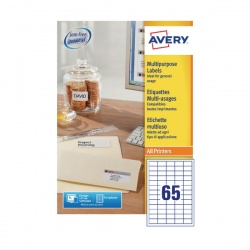 Avery Multi-Purpose Label 65TV per Sheet White (Pack of 100) Sheets 3666