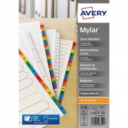 Avery Mylar Numeric Divider Bright White 1-10 A4 05248061
