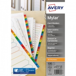 Avery Mylar Numeric Divider Bright White 1-25 A4 05225061
