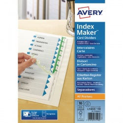 Avery Index Maker Divider A4 Extra-Wide 10-Part White 01999001