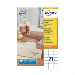 Avery Multi-Purpose Label 70x42.3mm 21TV per Sheet White (Pack of 100) Sheets 3652