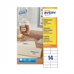 Avery Multi-Purpose Label 105x42.3mm 14TV per Sheet White (Pack of 100) Sheets 3653