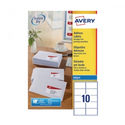 Avery QuickDRY Inkjet Label 99.1x57mm 10 per Sheet 10TV (Pack of 100) White J8173-100