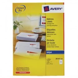 Avery QuickDRY Inkjet Label 63.5x72mm 12 per Sheet White (Pack of 100) J8164-100