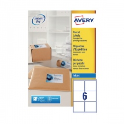 Avery QuickDRY Inkjet Label 99.1x93.1mm 6 per Sheet 6TV (Pack of 100) White J8166-100