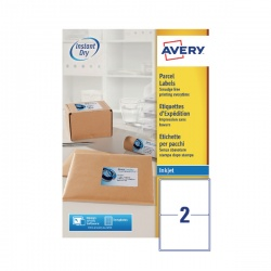 Avery QuickDRY Inkjet Label 199.6x143.5mm 2 per Sheet (Pack of 100) J8168-100