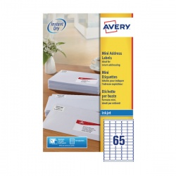 Avery Inkjet Label 38.1x21.2mm 65 per Sheet (Pack of 25) J8651-25