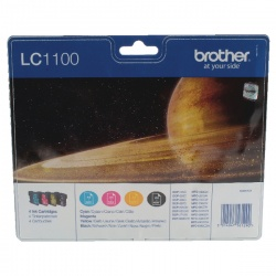 Brother LC-1100 Black/Cyan/magenta/Yellow Inkjet Cartridge (Pack of 4) LC1100VALBP