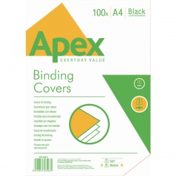 Fellowes Apex Black Leatherboard Covers A4 (Pack of 100) 6501001