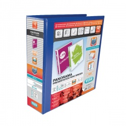 Elba Panorama A4 Presentation Binder 4D-Ring 65mm Blue (Pack of 4) 400008675