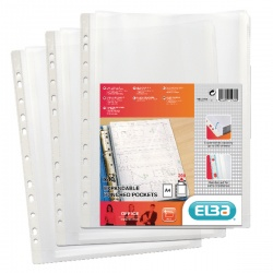 Elba Clear Expanding Punched Pockets (Pack of 10) 100080753