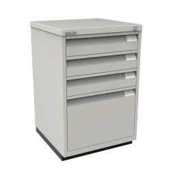 Bisley Filing Cabinet 3+1 Drawer Flush Fronted Lockable Goose Grey BY00115