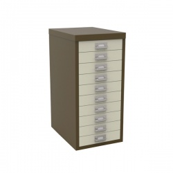 Bisley Non-Locking Multi-Drawer Cabinet 10 Drawer Coffee Cream BY36938