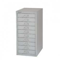 Bisley Non-Locking Multi-Drawer Cabinet 10 Drawer Grey BY36938