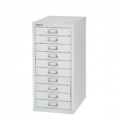 Bisley Non-Locking Multi-Drawer Cabinet 10 Drawer Silver BY40500
