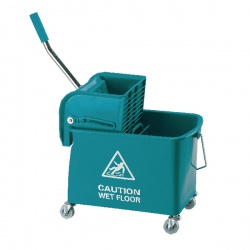 Green Mobile Mop Bucket and Wringer 15 Litre KS15GN