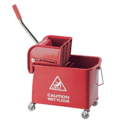 Red Mobile Mop Bucket and Wringer 15 Litre KS15RD