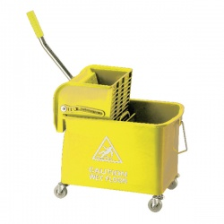 Yellow Mobile Mop Bucket and Wringer 15 Litre KS15YL