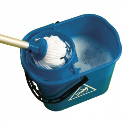Blue Plastic Mop Bucket with Wringer 15 Litre SM15BL