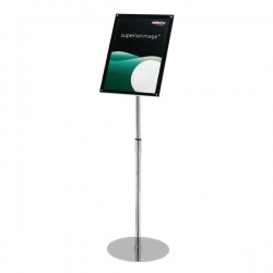 Deflecto Chrome Bevelled Floor Sign Holder A3 DE790645