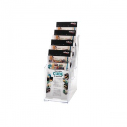 Deflecto Literature Holder 1/3xA4/DL 4-Tier Clear 77701