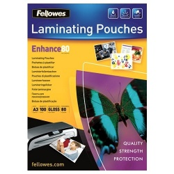Fellowes (A5) Glossy 80 Micron Laminating Pouch (100 Pack).