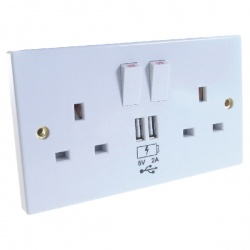 Connekt Gear UK Power Socket 2-Gang Mains with 2x USB Ports 2A White 27-2000