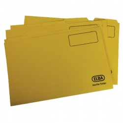 Elba Yellow Mediumweight Tabbed Folder Foolscap (Pack of 100) 100090237