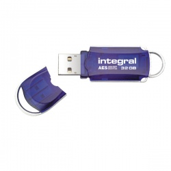 Integral Courier FIPS 197 Encrypted USB Flash Drive 32GB Blue INFD32GBCOUAT