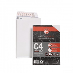Plus Fabric White C4 Gusset Envelopes 120gsm Retail Pack (Pack of 10) R10007