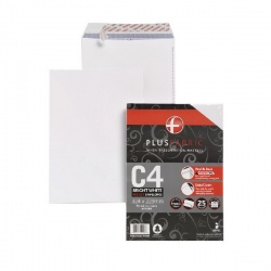Plus Fabric Envelope 120gsm Peel and Seal C4 White (Pack of 25) R10006