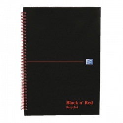 Black n Red Gloss Hardback Recycled Wirebound A5 Notebook Ruled (Pack of 5) 846350962