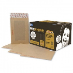 New Guardian Board Back C4 Envelopes Window 130gsm Manilla Peel and Seal (Pack of 125) B26526