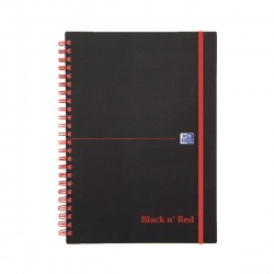 Black n Red Wirebound Elasticated A5 Notebook Polypropylene 140 Pages Feint 846350109